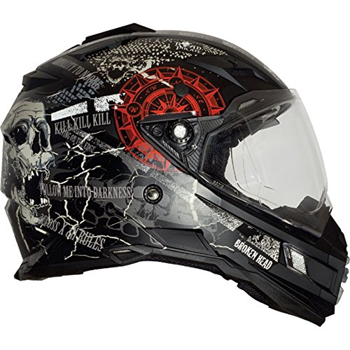 Broken Head Road Pirate Black Edition | Enduro Helm - MX Motocross Helm mit Sonnenblende Größe M (57-58 cm) - 6