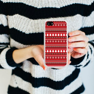 Apple iPhone 5 Housse étui coque protection Arbres Noël Rouge Housse en silicone blanc