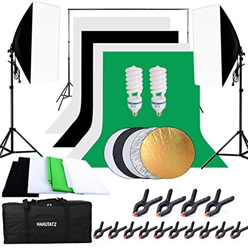 Hakutatz Juego de estudio fotográfico profesional, lámpara de estudio, Sets de estudio, Sistema de fondo con 4Fondos (Negro, 2de Color Blanco, Verde), trípode de lámpara reflector 5en 1, softbox, fotografía con funda protectora