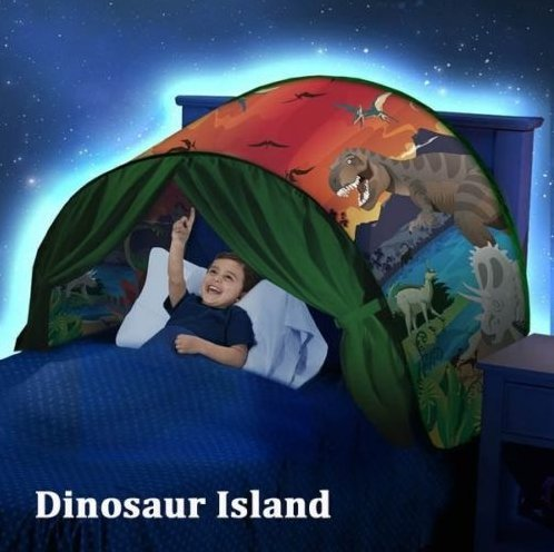 Tente Enfant Interieur -Ciels de Lit Tente de Rêve Pliable -La Base secrète d'enfant -Cadeau Noël pour Enfant (Monde de dinosaures)