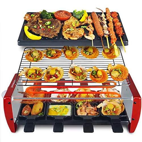 AWLLY Multifunktion Teppanyaki Grills Antihaft-Backblech Innen- Rauchfrei Einfach Zu Säubern Getrenntes Design Einstellbare Temperaturregelung 1350W
