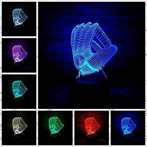 Zcmzcm 3D Nachtlichter Kreative Led 3D Baseball Handschuhe Lava Usb Rgb Dekoration Tisch Baby Schlaf Nacht Stimmung Lichter Kindertag Geschenk Spielzeug