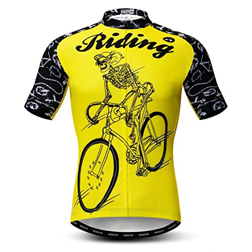 Kurzarm-shirt Reiten (Weimostar Radtrikot Männer Fahrradbekleidung Fahrrad Jersey Top Bergstraße MTB Jersey Shirt Kurzarm Team Sportbekleidung Gelbes Reiten Größe XL)