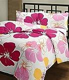 eCraftIndia Pink Flowers Single Bed Reve...