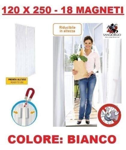 Tenda zanzariera magnetica bianca con 18 calamite 120 x 250 cm per porta balcone