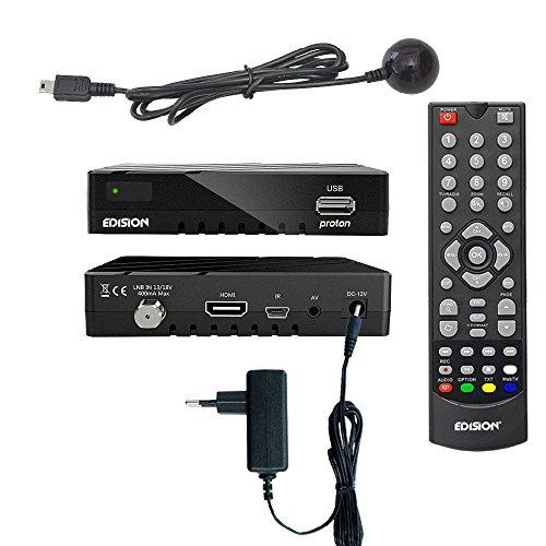 Edision proton Full HD Satelliten-Receiver FTA HDTV DVB-S2 (HDMI, AV, USB 2.0) Astra 19,2 vorpr. inkl. Externen Infrarotauge