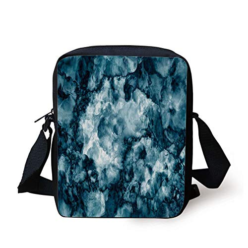 LULABE Apartment Decor,Antique Marble Stone with Blurry Distressed Motley Fractal Effects Illustration,Blue Print Kids Crossbody Messenger Bag Purse - Distressed Hobo