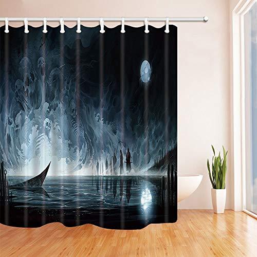 GAOFENFFR Halloween Duschvorhänge für Bad Wasser Geist Skelett Gegen Vollmond Terror Thema Bad Duschvorhang 180X180 cm