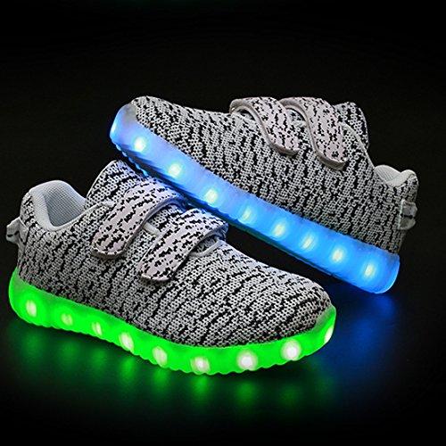 DorkasDE LED Schuhe Leuchtend Schuh USB Aufladen Sneakers Atmungsaktiv und bequem Turnschuhe brillant Stil Schuhe für Kinder Jungen Mädchen Weiß