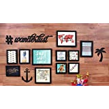 Painting Mantra Art Street - Wanderlust Theme Set Of 11 Individual Photo Frames (With Prints) And 4 MDF Plaue ( # , Wanderlust, Anchor, Palm Tree)