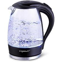 Aigostar Adam 30GOM - Bollitore d'acqua in vetro borosilicato con illuminazione a LED. 2200W, 1.7L e Color Nero. Protezione Boil-dry. BPA FREE. Design Esclusivo.