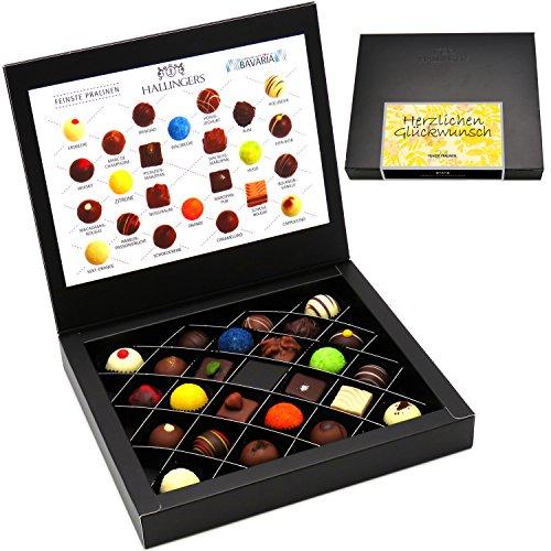 Hallingers 24 Pralinen in edler Geschenk-Box, mit/ohne Alkohol (300g) - Herzlichen Glückwunsch (FirstClass-Box) - zu Geburtstag & Glückwunsch - Handgemachte Kakao-butter