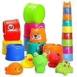 Badewannen Stapelbecher spielzeug ,BBLIKE Stapeln Tassen Spielzeug Gummiente Set mit Alphabet Buchstaben Zahl süß Geschenk, Bestes Pädagogisches für Babys und Kleinkinder,-ab 18 Monate