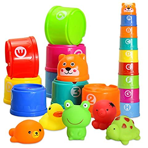 BBLIKE Bath Toy Stacking Cups Floating Toy Rubber Duck Set of Squirt Game Animals, with Alphabet Letter number Lovely Gift for Baby Boy and