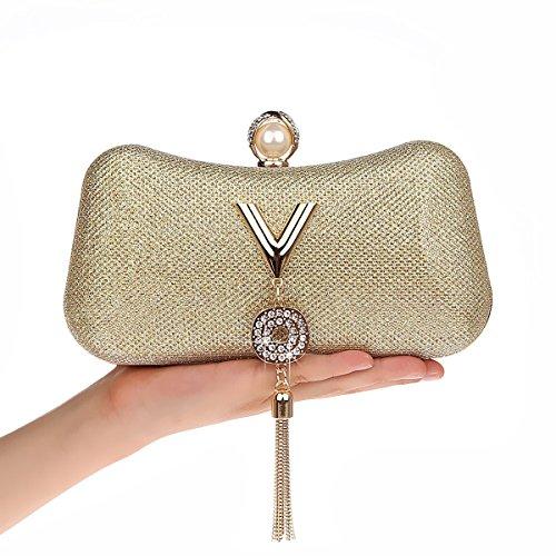 AnKoee Donna Pochette Borsa Sacchetto Borsetta Da Sera Borsa Diamante Portafoglio Frizioni Borsa da Sposa (Blu) Oro