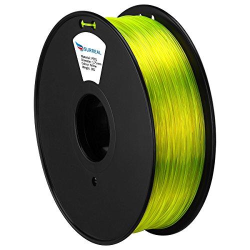Surreal PETG Filament Rolle - 1,75mm , 1 KG Transparet Gelb - für 3D-Drucker