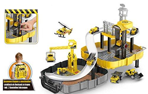 Brigamo  Baumeister Spielset aufklappbare Baustelle mit Kran und zwei Baustellen Fahrzeuge im praktischen Werkzeugkoffer Rucksack zum umschnallen und zur Spielzeug Aufbewahrung