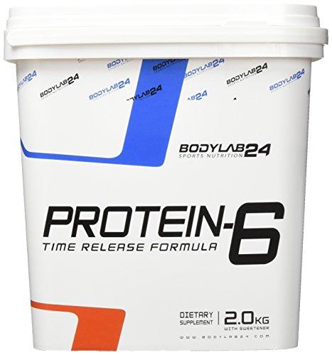 Bodylab24 Protein-6 Geschmack: Erdbeere,   Mehrkomponenten Protein Shake, 6 hochwertige Eiweißquellen für Muskelaufbau und Diät, 2000g Box