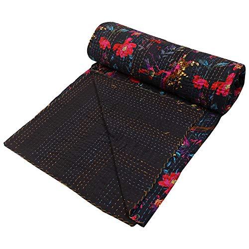 Stylo Culture Indische Tagesdecke Gesteppt Baumwolle Kantha Baumwolle Bettdecke Double Black Baumwolle Paisley Hand genäht Decke Bettdecke -