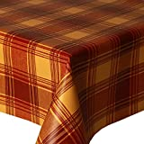 PVC Tablecloth Highland Terracotta 2.5 Metres (250cm x 140cm), Tartan Check Multi, Red Orange Yellow, Wipe Clean, Vinyl / Plastic Table Cloth