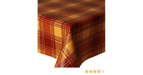 Wipe Clean Vinyl // Plastic Table Cloth Red Orange Yellow PVC Tablecloth Highland Terracotta 2 Metres 200cm x 140cm Tartan Check Multi