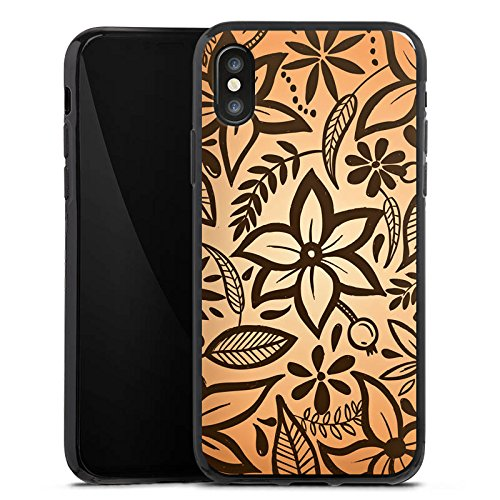 Apple iPhone X Silikon Hülle Case Schutzhülle Retro Blumen Muster Silikon Case schwarz