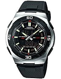 CASIO AQ-164W-1AVES - Reloj de caballero automático, correa de resina color negro (con cronómetro, alarma, luz)