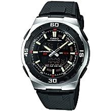 CASIO AQ-164W-1AVES - Reloj de caballero analógico y digital, correa de resina color negro (con cronómetro, alarma, luz)