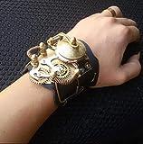 R&P Retro Herren Damen Mechanische Automatik-Uhr Reines Kupfer Beobachten Taschenuhr Leder - Doppelter Gürtel