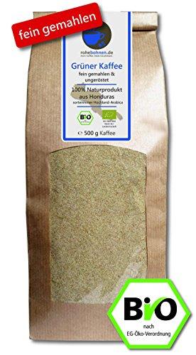 Grüner Bio Kaffee FEIN GEMAHLEN 500g (veganer Rohkaffee z. B. für Smoothies)