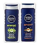 Nivea UOMO Docciaschiuma Twin Set SPORT & ENERGIA Corpo, Viso & Shampoo 2 x 500ml grandi dimensioni Bottiglie