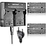 Neewer® (2 Pack) 2600mAh recargable Sony NP-F550 / 570/530 reemplazo del Li-ion con Cargador de Doble Canal para Sony Handycams, Neewer Nanguang CN-160, CN-216, CN-126 de la Serie LED de luz y Chromo Inc., Polaroid Otros LED en la Cámara de Vídeo Uso de Luces NP-F550
