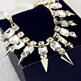 Yazilind Rhinestone Inlay Spike Rivet Metal Golden Tone All-Match Bib Statement Necklace