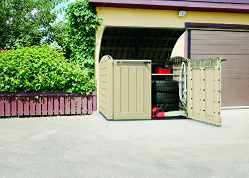 Keter 177 x 113 x 134 cm Store-It Out Ultra Outdoor Plastic Garden Storage Bike Shed – Beige and Brown