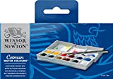 Winsor & Newton Cotman Water Colour Paints - 1/2 Napf and Pinsel, 12 Farben