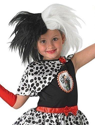 Disney Mädchen schwarz & weiß Cruella de Ville Bösewicht Kostüm Kleid Outfit Perücke Accessoire (Mädchen Bösewichte Kostüme)