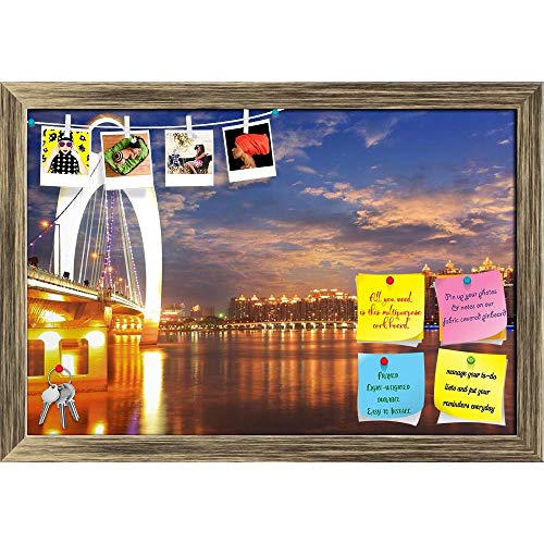 Artzfolio Zhujiang River In Guangzhou, China Printed Bulletin Board Notice Pin Board | Antique Golden Frame 23.5 X 16Inch