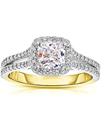 Silvernshine 1.37 Cttw White Cushion CZ Diamond 14k Two-Tone Gold Plated Over Wedding Ring