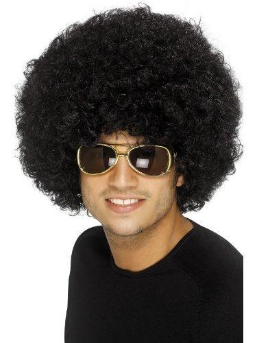 70er Polizei Kostüm Officer Jahre (Unisex 70er Jahre Funky Afro Perücke, Einheitsgröße,)