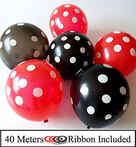 Amfin (Pack of 100) Black and Red Polka Dot Balloons- Pack of 100