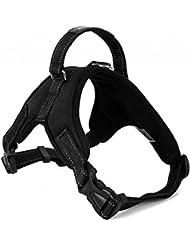 Motionjoy Nueva Suave Cómoda Acolchada Ajustable Mascota Pecho del Arnés del Chaleco para Mediano y Gran Tamaño Perro Formación o Caminar (Negro, L)