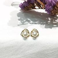 18K Gelbgold Akoya-Perlen-Ohrring -Bolzen runde Perlen-Ohrstecker Meerwasser Salzwasser Japanische Akoya Perlen 5-5.5mm