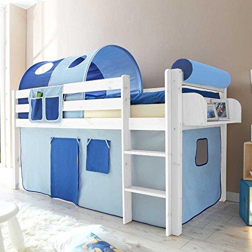*Kinderhochbett mit Tunnel in Blau halbhoch Hängeregal Nein Pharao24*