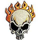 Skull on Fire Flamme Feur Biker Rocker Patch ''7,4 x 10 cm'' - Aufnäher Aufbügler Applikation Applique Bügelbilder Flicken Embroidered Iron on Patches