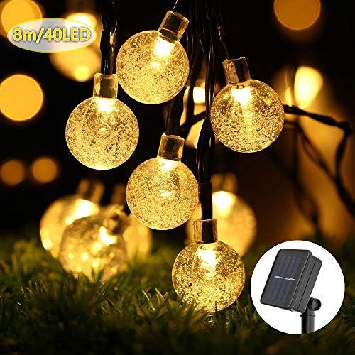 ECOWHO Solar Lichterkette Außen mit LED Kugel 8m 40 LED Solarbetriebene Lichterketten für Innen, Garten, Hochzeit, Party, Weihnachten(Warmweiß)