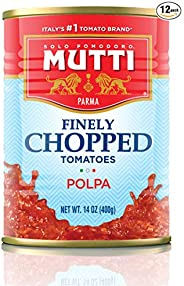 Mutti, Finely Chopped Tomatoes 14 ounce Pack of, Polpa, 4762.7 gram, (Pack of 12)