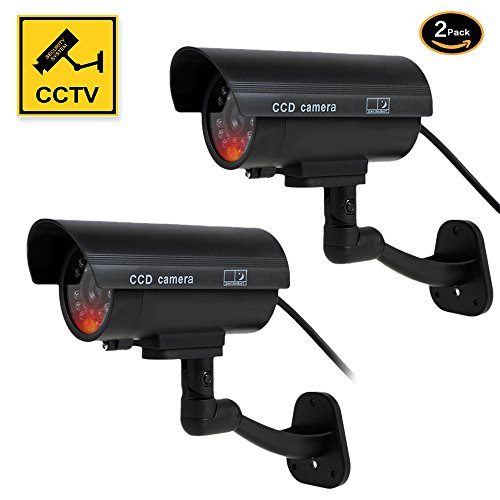 YESKAMO Fake Dummy CCTV Camera for Home Indoor Outdoor Security 2 Pack Stimulated Bullet Cameras System with 30pcs Blinking Flashing Led Light and Warning Alert Sticker Decals