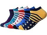 QBSM 5 pares Sneaker Calcetines Cortos para Hombres rayas colores, de Algodón,tallas 39 a 42