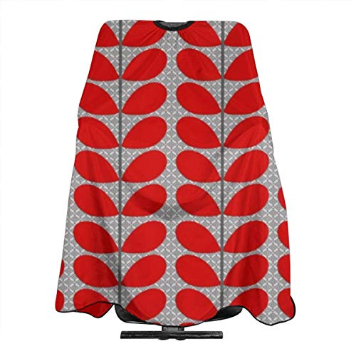 Mid Century Danish Leaves Deep Red & Gray Grey Haircut Hairdressing Cape Cloth Apron Hair Styling Hairdresser Cape Barber Salon -