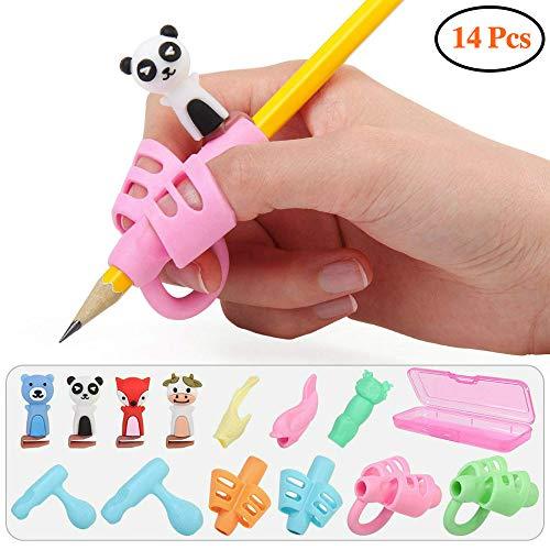 FIVE BEE 14 Pcs Premium Pencil Grips-Pencil Finger Grips Holder Haltung Korrektur Schreibhilfe für Linkshänder und Rechtshänder